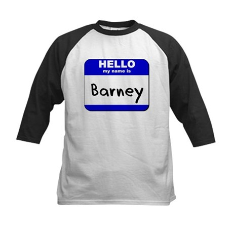 hello my name is barney Kids Baseball Jersey