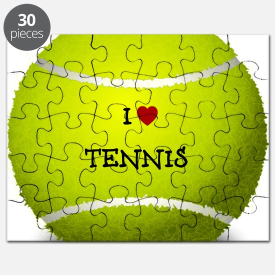 I Love Tennis on a Yellow Tennis Ball Puzzle