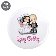 "Spring Wedding Cake Dolls 3.5"" Button (10 pack)"