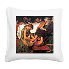 Jesus Washing Peter's Feet, R Square Canvas Pillow