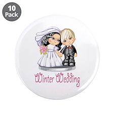 "Winter Wedding Cake Dolls 3.5"" Button (10 pack)"