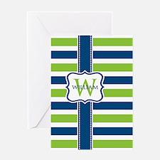 Personalized Stripe Monogram Greeting Card