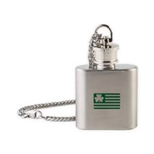 Irish Shamrock flag Flask Necklace
