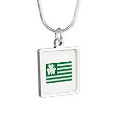 Irish Shamrock flag Silver Square Necklace