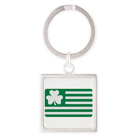 Irish Shamrock flag Square Keychain