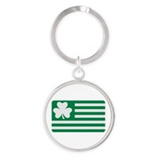 Irish Shamrock flag Round Keychain