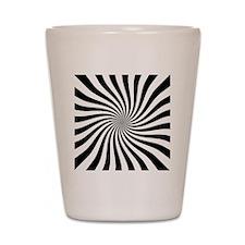 Black White Twist Stripes Shot Glass
