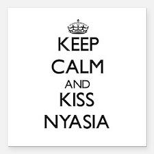 "Keep Calm and kiss Nyasia Square Car Magnet 3"" x 3"
