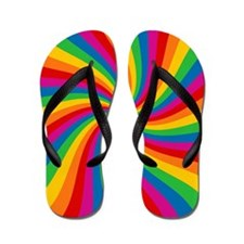 Rainbow Twist Stripes Flip Flops