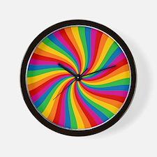 Rainbow Twist Stripes Wall Clock