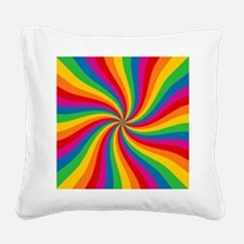 Rainbow Twist Stripes Square Canvas Pillow