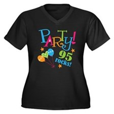 95th Birthday Party Women's Plus Size V-Neck Dark