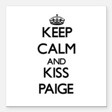 "Keep Calm and kiss Paige Square Car Magnet 3"" x 3"""
