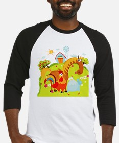 Horse and Roosters on Farm Baseball Jersey