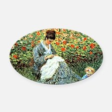 Camille Monet and Child Oval Car Magnet