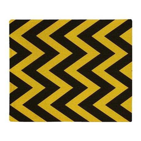 Yellow And Black Jig Jag Throw Blanket By Chevroncitypart2