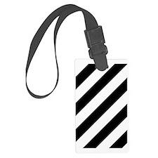 Black and White Diagonal Striped Luggage Tag
