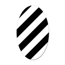 Black and White Diagonal Striped Oval Car Magnet