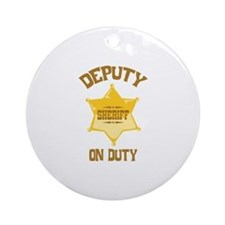 Deputy Sheriff On Duty Ornament (Round)