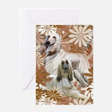 Afghan Hound Floral Greeting Card