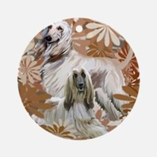 Afghan Hound Floral Round Ornament
