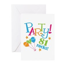 81st Birthday Party Greeting Cards (Pk of 10)