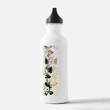 White Art of Flower Water Bottle
