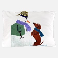 Dachshund And Snowm... Pillow Case