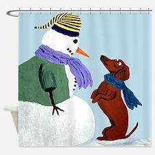 Dachshund And Snowm... Shower Curtain