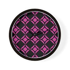 Mod Diamonds Pattern Hot Pink Wall Clock