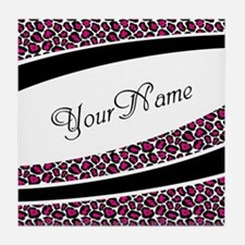 Pink Leopard Personalized Tile Coaster