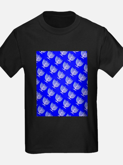Blue Menorahs for a Hanukkah Mensch T-Shirt