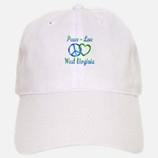 Peace Love West Virginia Baseball Baseball Cap