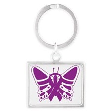 Purple Awareness Butterfly Ribbon Keychains