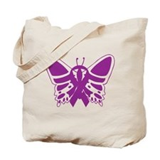 Purple Awareness Butterfly Ribbon Tote Bag