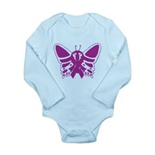 Purple Awareness Butterfly Ribbon Body Suit