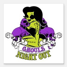 """Ghouls Night Out Square Car Magnet 3"""" x 3"""""""