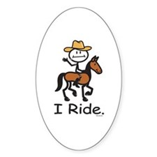 Western horse riding Oval Decal