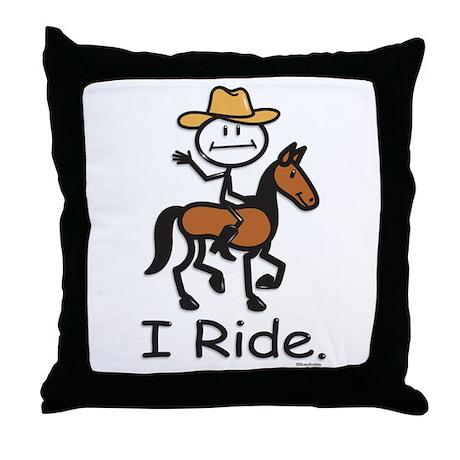 Western horse riding Throw Pillow
