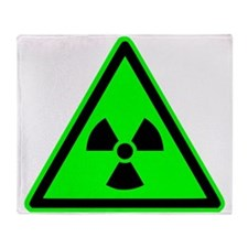Green Radioactive Yield Sign Throw Blanket