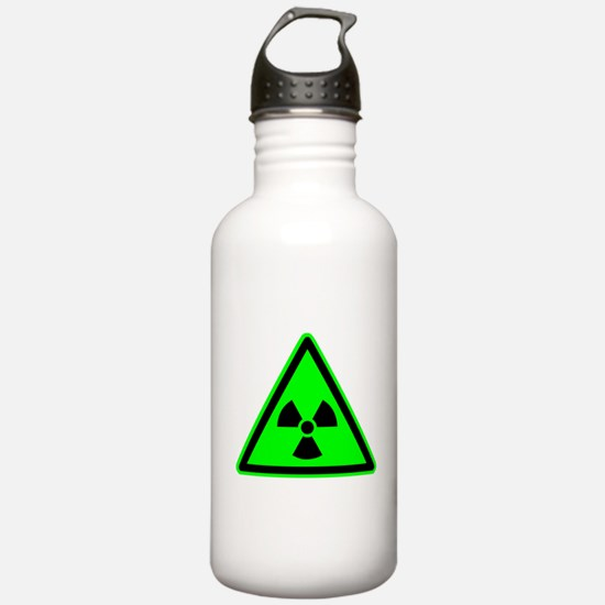 Green Radioactive Yield Sign Sports Water Bottle