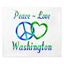 Peace Love Washington King Duvet