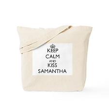 Keep Calm and kiss Samantha Tote Bag