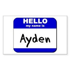 hello my name is ayden Rectangle Decal