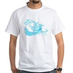 Old Line Drawing Bird White T-Shirt