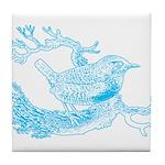 Old Line Drawing Bird Tile Coaster