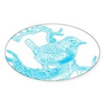 Old Line Drawing Bird Oval Sticker