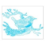 Old Line Drawing Bird Small Poster