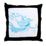 Old Line Drawing Bird Throw Pillow