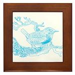 Old Line Drawing Bird Framed Tile
